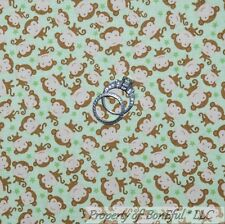 BonEful Fabric FQ Cotton Quilt VTG Green Brown Monkey Star Baby Boy Girl Calico