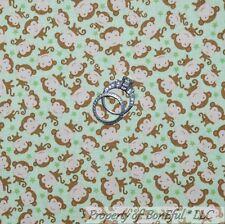 BonEful Fabric Cotton Quilt Green Brown Monkey Star Baby Boy Unisex Sale L SCRAP