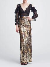 $895 NEW Marchesa Notte Cold Shoulder Sequin Gown Gold Black Lace Dress 0