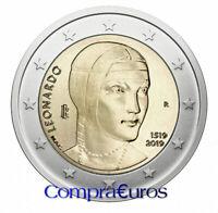 2 Euros Conmemorativos ITALIA 2019 *Leonardo da Vinci* Sin Circular