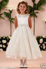 HOT Lovely White Lace Beaded Butterfly Belt First Communion Flower Girl Dresses