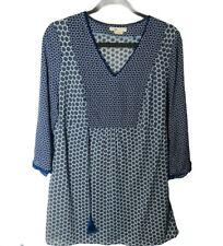 Boden Women's 10 Blue Geometric Print 3/4 Sleeve V Neck Popover Tunic Blouse