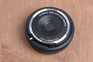 Olympus 9mm f/8 M43 Micro Four Thirds Camera Fisheye Body Lens Cap Black