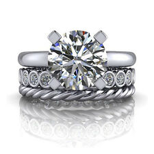 Round Cut 3.2 Ct Dimond Engagement Ring Sets Solid 14kt White Gold Ring M N O P