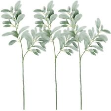 3Pcs Artificial Greenery Fake Silk Leaf  Silver Green Christmas Home Decorative
