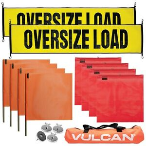 VULCAN Large Oversize Load Flags, Oversize Load Banners, & Magnets Kit