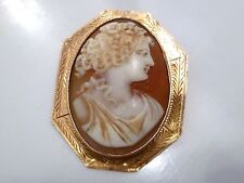 FABULOUS 10K Solid Yellow Gold CAMEO BROACH PIN PENDANT