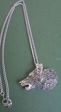 pewter pendant, wolf design, hand made in Cornwall with surgical steel chain