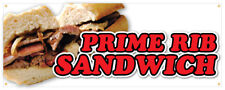 Prime Rib Sandwich Banner Roast Beef French Dip Concession Stand Sign 18x48
