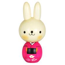 "Japanese 5.75""H KOKESHI Wooden Doll Usagichan Rabbit Pink Hand-Craft/ Made Japan"