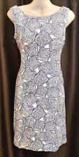 Handmade Vintage 1960s / 1970s Silk Shift Geo patterned dress in White w Navy