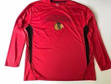 Authentic Chicago Blackhawks Long Sleeve Shirt Dri Fit Red NHL Hockey
