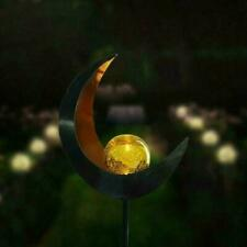 LED Solar Garden Light Pathway Outdoor Moon Cracking Iron Lawn Lamp Glass Y9E8