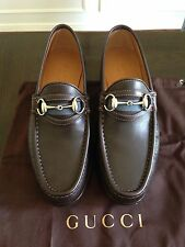 New Gucci Men's Dark Brown Loafer Shoes w/Silver  Horsebit 157440  5D