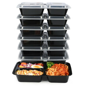 15Pack Bento Box 32oz 3 Compartment Meal Prep Containers with Lids, Food Storage