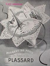 PUBLICITE PARFUM PLASSARD BOUQUET DE PARIS DE 1946 FRENCH AD PERFUME