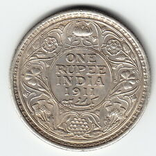 BRITISH INDIA 1 Rupee 1911 (c) KM523 Ag.917 'Pig' 1-yr type HIGH GRADE - SCARCE!