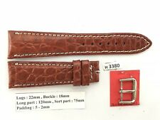 22mm/18mm BROWN Genuine Alligator Crocodile Leather skin Watch Strap Band H3380