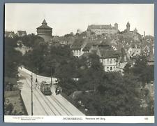 Allemagne, Nurnberg, Panorama mit Burg  Vintage print.  Tirage argentique  1