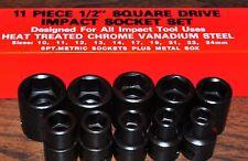 IMPACT SOCKET 11pc 1/2 INCH DR DRIVE METRIC IMPACT SOCKET 10 MM to 24 MM JAPAN!