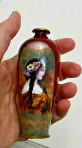 French Enamel on Copper Miniature Vase Art Nouveau Lady Portait