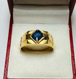1.3 Ct Sapphire Modernist Solitaire Engagement Wedding Ring 14K Yellow Gold Over