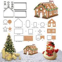 10pcs 3D Gingerbread house Stainless Steel Christmas Scenario Cookie CuttersIYAN