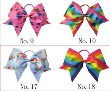 "20 BESSING Good Girl Rainbow Unicorn 7"" Cheer Leader Hair Bow Elastic 49 No."