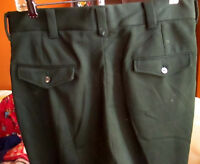34x28 True Vtg 70s FOREST GREEN FLAP POCKET POLYESTER KNIT FLARE PANTS JEANS