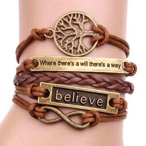 Tree of Life Bracelet. Believe Charm Wristband. Brown Cord Bangle.
