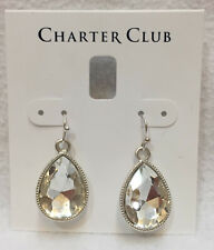 Glass Faceted Stone Dangling Silver Tone Earrings Charter Club Tear Drop Crystal