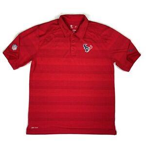 Houston Texans Nike NFL Apparel Mens Polo Shirt Size Large Red Tonal Stripe