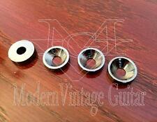 4 Modern Vintage Guitar Classic Neck Mounting Ferrules & Screws BLACK NICKEL