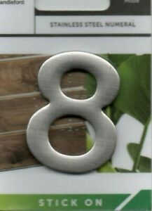 """SANDLEFORD - STAINLESS STEAL - """"8"""" - HOUSE/DOOR/GATE NUMBERS - FREE UK POSTAGE"""