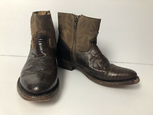 ASH Brown Leather Short Ankle Cowboy Boots Made In Mexico - Size 37