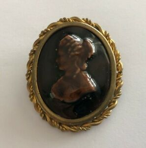 Brooch Antique Terracotta And Brass REF64796