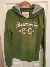 ABERCROMBIE AND FITCH GREEN AND WHITE HOODIE SWEATSHIRT JUNIOR SIZE L