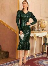 SHEIN Gigot Sleeve squin Fishtail Dress Size M (6)