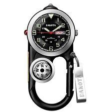 Dakota Uhr Angler II, schwarzes Zifferblatt, schwarzes Gehäuse, Karabiner Clip Kompass 3708-9