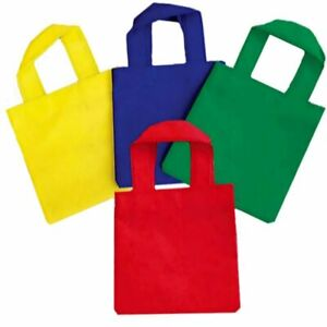 Pack of 4 x  Woven Fabric Party Tote Bags- Parties, Weddings, Christmas,Easter