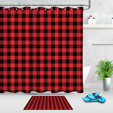 Rustic Red and Black Buffalo Check Plaid Fabric Shower Curtain Hook Bathroom Mat