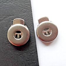 2 Stück Kordelstopper Metall masiv silbern robust 6mm Öse Zackenrand 4,8g/Stück