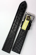 19mm/16 IN VERO ALLIGATORE a nastro MADE GERMANY conte Louisiana Nero krokoband