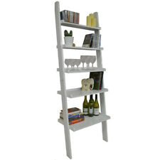Ladder 5 Tier Wall Leaning Storage Shelves - Gloss White ST16018