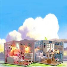 1:32 Scale Wooden Handmade Dollhouse Miniature DIY Kit Cute Room Dream House
