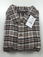 J. Crew Factory Mercantile Plaid Flannel Brown Cream Shirt