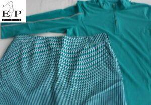 EP Pro Tour Tech GOLF Women's Size 12 Print Skort & Size Large Qtr-zip Top NWOT