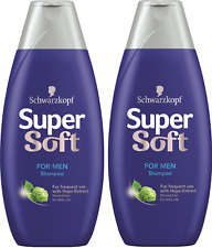 2 X Schwarzkopf Supersoft Shampoo For Men For Daily Use For Normal Hair 400 ml