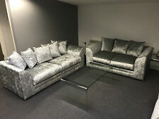 "DYLAN GLITZ3+ 2 SEATER SOFAS SET"" SILVER CRUSHED VELVET"" TOP QUALITY"