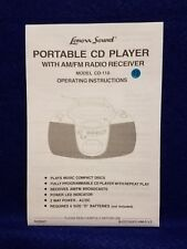 Pre-owned ~ Lenox Sound Portable CD Player Model No. CD-110 Operating Manual